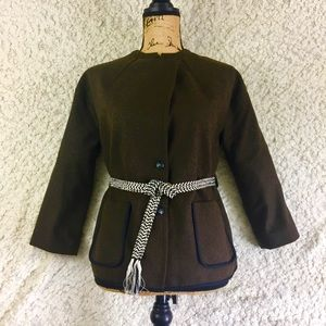 Scotch & Soda Wool Blend Green Belted Coat, P
